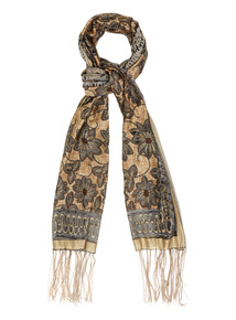 Cream Floral Burnout Scarf