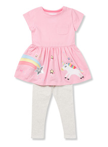 Multicoloured Embroidered Dress and Leggings Set (9 months-6 years)