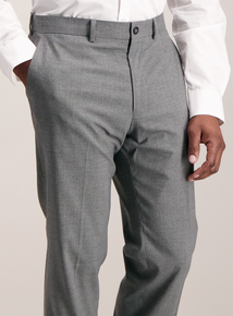 Light Grey Dogtooth Trousers With Stretch
