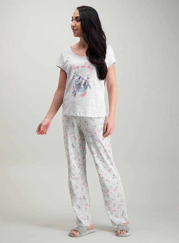 d228e234109c Womens Grey Sloth Print  Sleep All Day  Pyjamas