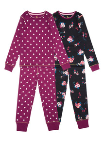 Multicoloured Two Pack Winter Floral Pyjamas (3-14 years)