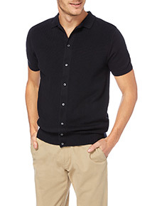 Navy Knitted Seed Stitch Button Through Polo