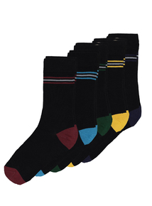 Multicoloured Striped Stay Fresh Socks 5 Pack