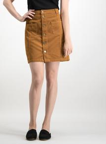 Tan A-Line Corduroy Skirt