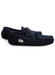 Harris Tweed By Totes Navy Moccasin Slippers