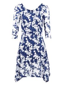 IZABEL Navy Butterfly Print Dress