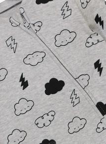 Baby Grey Clouds & Lightning All In One (Newborn - 24 months)