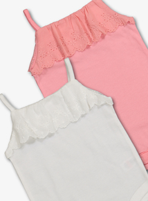 a70e0dc3e White & Pink Strappy Bodysuits 2 Pack (0-24 Months)