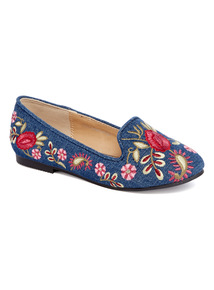 Embroidered Slipper Cut Ballerina Pumps