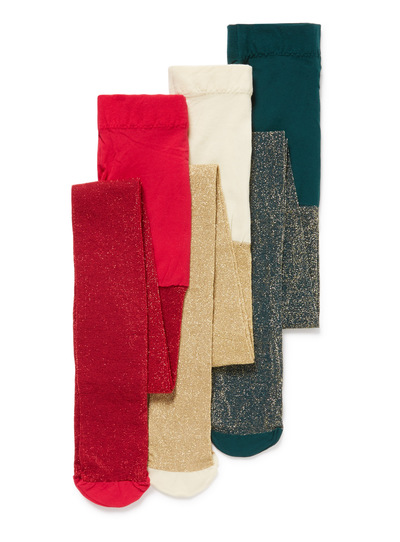 3 Pack Multicoloured Glitter Tights (2-12 years)