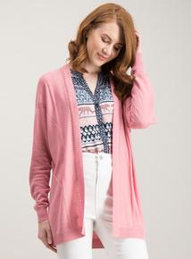 881fe97ee0b8 Blush Pink Linen Blend Longline Cardigan