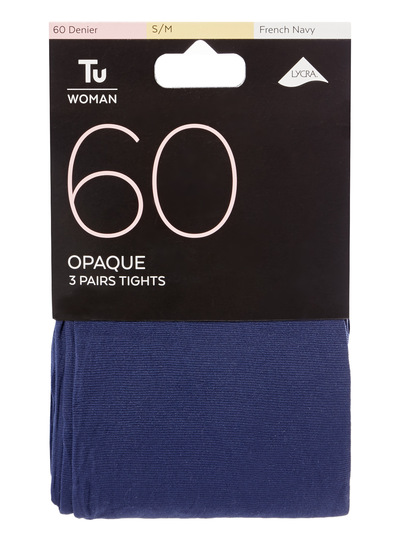 272c948a739 Womens 60 Denier Opaque Tights 3 Pack