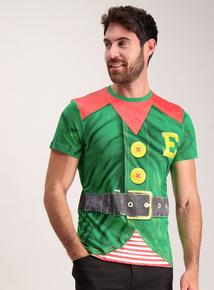 Christmas Green Elf Print Crew Neck T-Shirt