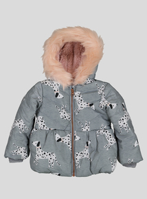 Grey and Pink Puppy Design Puffer Coat (9 Months- 6 Years)