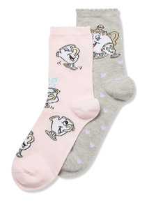2 Pack Disney Mrs Pots and Chip Socks