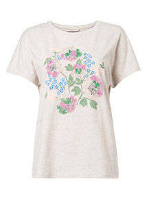 Oatmeal Floral Print Sequinned T-Shirt