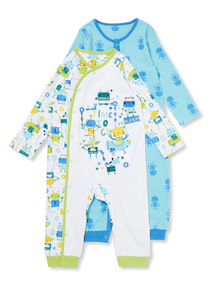 2 Pack Multicoloured Robot Sleepsuits (Newborn-24 months)
