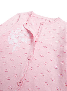 Pink Floral Embroidered Cardigan (0-24 months)