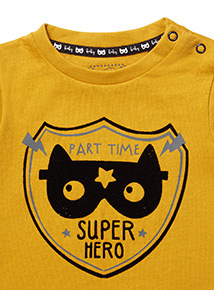 Yellow Superhero Printed Tee (0-24 months)