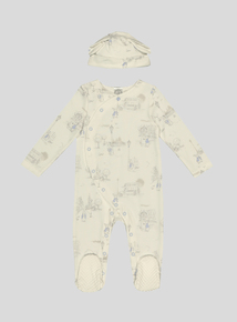 Peter Rabbit Blue Print Sleepsuit and Hat Set (Up to 3 months-24 months)