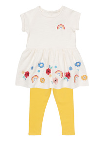 White rainbow dress and leggings set (9 months - 6 years)