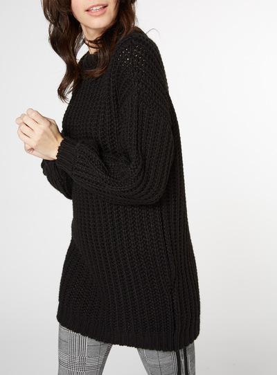 Black Oversized Chunky Knit Dress