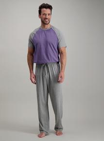Grey   Purple Marl Jersey Pyjama Set 829c4a4a6