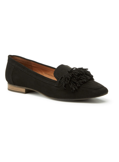 Black Square Toe Fringe Ballerina Pumps