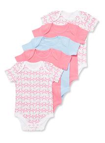 5 Pack Multicoloured Rainbow Bodysuits (Newborn-36 months)