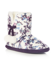 Multicoloured Floral Print Velour Boot