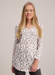 Multicoloured Bird Print Pintuck Top