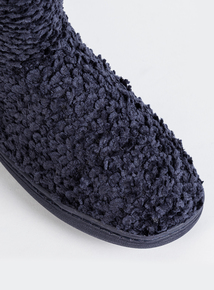 Bow Detail Navy Boot Slippers