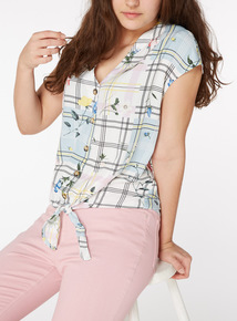 Multicoloured Check and Floral Print Tie Front Shirt