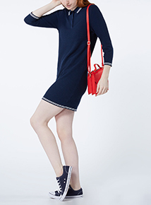 Navy Sporty Tipped Collar Dress