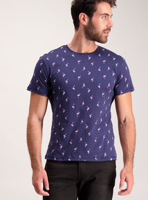 Navy Flamingo Print T-Shirt