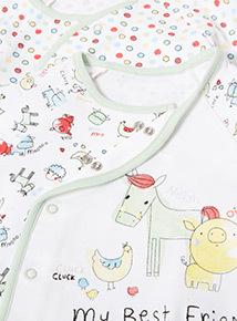2 Pack White Farmyard Sleepsuits (Newborn-24 months)