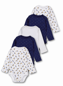 Multicoloured Floral Long Sleeve Bodysuits 5 Pack (0-36 months)