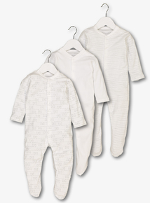 3 Pack White Printed Sleepsuits (Tiny baby - 24 months)