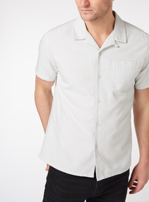 White Regular Fit Textured Revere Shirt