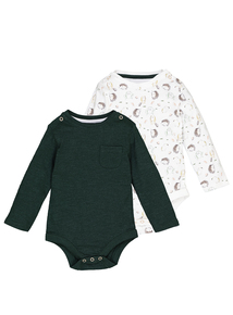 Green Woodland Animal Bodysuits 2 Pack (0-24 Months)