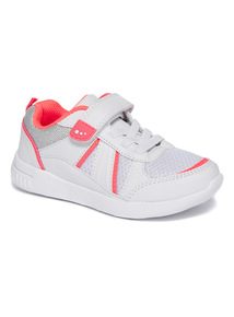 White And Pink Rip Tape Trainers