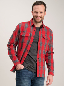 Red & Grey Check Regular Fit Overshirt
