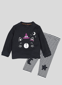 Halloween Black Cat Top & Legging 2 Piece Set (0-24 Months)