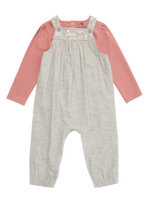 Grey Cord Dungaree and Pink Bodysuit Set (0-24 months)