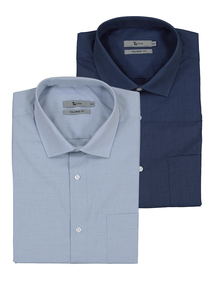 Blue Easy To Iron Cotton Rich Shirt 2 Pack