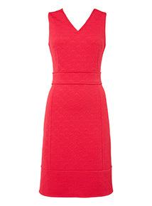 Pink Textured Rib Ponte Sleeveless Dress