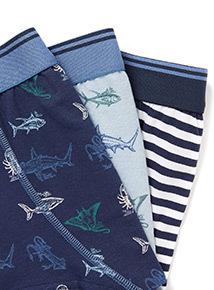 5 Pack Blue Shark Trunks (3-12 years)