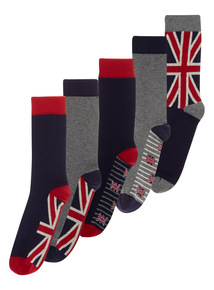 Red Striped Union Jack Socks 5 Pack