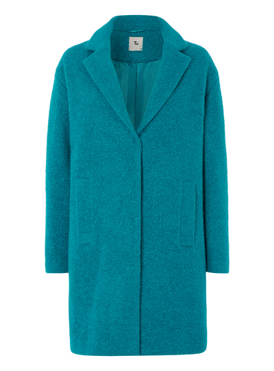 Womens Teal Boucle Knit Crombie Coat Tu Clothing