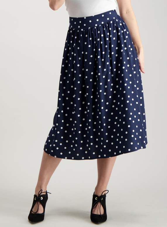 structural disablities select for best strong packing SKU: PETITE SPOT FULL MIDI SKIRT:Navy